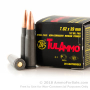 20 Rounds of 122gr FMJ 7.62x39mm Ammo by Tula