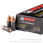 500  Rounds of 115gr FMJ 9mm Ammo by Wolf