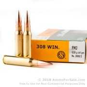 20 Rounds of 147gr FMJ .308 Win Ammo by Sellier & Bellot