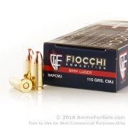 50 Rounds of 115gr CMJ 9mm Ammo by Fiocchi