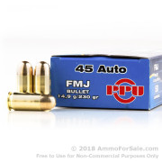 500  Rounds of 230gr FMJ .45 ACP Ammo by Prvi Partizan