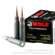 500  Rounds of 145gr FMJ .308 Win Ammo by Wolf WPA Polyformance