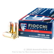 50 Rounds of 230gr JHP .45 ACP Ammo by Fiocchi