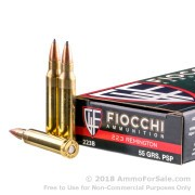 20 Rounds of 55gr PSP .223 Ammo by Fiocchi