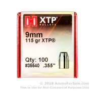 Bullets - 9mm - 115 Grain XTP JHP - Hornady - 100 Bullets