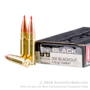 20 Rounds of 110gr V-MAX .300 AAC Blackout Ammo by Hornady