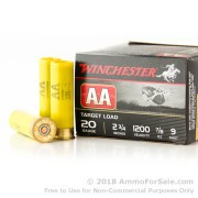 25 Rounds of 7/8 ounce #9 shot 20ga Ammo by Winchester AA
