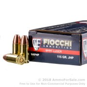1000 Rounds of 115gr JHP 9mm Ammo by Fiocchi
