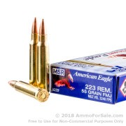 20 Rounds of 55gr FMJBT .223 Ammo by Federal American Eagle