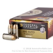 50 Rounds of 99gr JHP .380 ACP Ammo by Federal HST