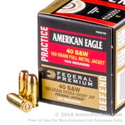 120 Rounds of 180gr FMJ .40 S&W Ammo by Federal American Eagle