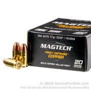 20 Rounds of 77gr SCHP .380 ACP Ammo by Magtech