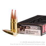 20 Rounds of 208gr Match A-MAX .300 AAC Blackout Ammo by Hornady