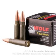 20 Rounds of 123gr FMJ 7.62x39mm Ammo by Wolf