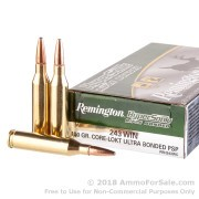 20 Rounds of 100gr CLP-SP .243 Win Ammo by Remington HyperSonic Bonded