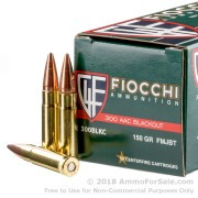 50 Rounds of 150gr FMJBT .300 AAC Blackout Ammo by Fiocchi
