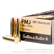 50 Rounds of 158gr FMJ .357 Mag Ammo by Sellier & Bellot