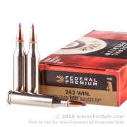 20 Rounds of 55gr Nosler Ballistic Tip .243 Win Ammo by Federal Vital-Shok