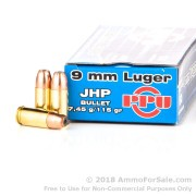 50 Rounds of 115gr JHP 9mm Ammo by Prvi Partizan