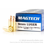 50 Rounds of 124gr FMJ 9mm Ammo by Magtech