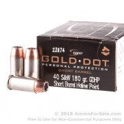 20 Rounds of 180gr JHP .40 S&W Ammo by Speer Short Barrel