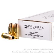 50 Rounds of 230gr JHP Hi-Shok .45 ACP Ammo by Federal Classic