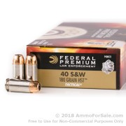 50 Rounds of 180gr HST JHP .40 S&W Ammo by Federal Law Enforcement