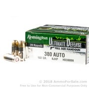 20 Rounds of 102gr JHP .380 ACP Ammo by Remington Ultimate Defense