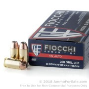 500  Rounds of 230gr JHP .45 ACP Ammo by Fiocchi