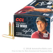 200 Rounds of 40gr JHP .22 WMR Ammo by CCI
