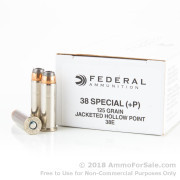 1000 Rounds of 125gr JHP .38 Spl +P Ammo by Federal