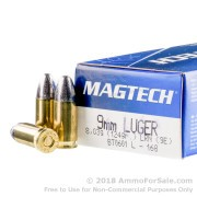 50 Rounds of 124gr LRN 9mm Ammo by Magtech