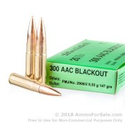 500 Rounds of 147gr FMJ .300 AAC Blackout Ammo by Sellier & Bellot