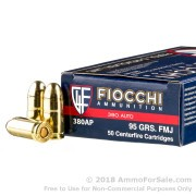 1000 Rounds of 95gr FMJ .380 ACP Ammo by Fiocchi