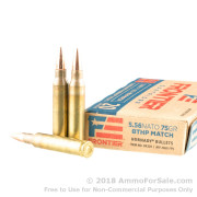 20 Rounds of 75gr BTHP Match 5.56x45 Ammo by Hornady
