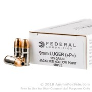 50 Rounds of 115gr +P JHP 9mm Ammo by Federal LE