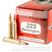 50 Rounds of 55gr FMJ .223 Ammo by Black Hills Ammunition