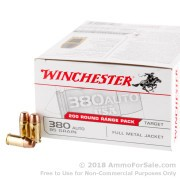 200 Rounds of 95gr FMJ .380 ACP Ammo by Winchester USA