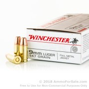 500  Rounds of 147gr TC-MC 9mm Ammo by Winchester