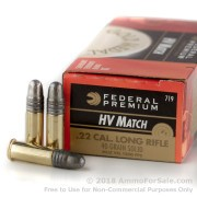 50 Rounds of 40gr LRN .22 LR Ammo by Federal Gold Metal High Velocity Match