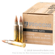 50 Rounds of 55gr FMJBT M193 5.56x45 Ammo by Fiocchi