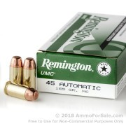 500  Rounds of 185gr MC .45 ACP Ammo by Remington