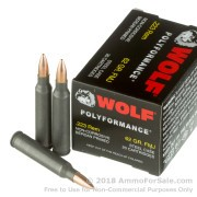 20 Rounds of 62gr FMJ .223 Ammo by Wolf WPA Polyformance