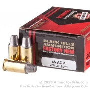 20 Rounds of 200gr Semi-Wadcutter .45 ACP Ammo by Black Hills Ammunition
