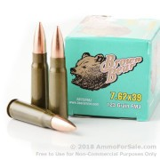 20 Rounds of Polymer Coated 123gr FMJ 7.62x39mm Ammo by Brown Bear