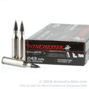 20 Rounds of 55gr Polymer Tipped .243 Win Ammo by Winchester Supreme Ballistic Silvertip