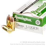 50 Rounds of 115gr MC 9mm Ammo by Remington