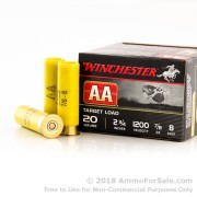 250 Rounds of 7/8 ounce #8 shot 20ga Ammo by Winchester AA Target