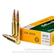 20 Rounds of 180gr SPCE .308 Win Ammo by Sellier & Bellot