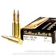 20 Rounds of 131gr SP 6.5x55mm SE Ammo by Sellier & Bellot